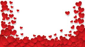 Rama z czerwonymi sercami na przejrzystym tle zdjęcia royalty free