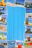 Rama z fotografiami od wakacje, słońce, plaża, wakacje i Zdjęcia Stock