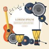 Rama z gitarą, mówcą, rejestrami, mikrofonem i bębenami na lekkim tle, wektor Obraz Stock