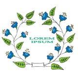 Rama z jaskrawego abstrakcjonistycznego kwiatu błękitnym kolorem Zdjęcia Royalty Free
