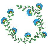 Rama z jaskrawym abstrakcjonistycznym kwiatu błękitnym i różowym kolorem Zdjęcie Royalty Free