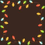 Rama z kolorowymi bożonarodzeniowe światła Obrazy Royalty Free
