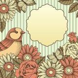 Rama z kwiatami i motylami Obrazy Stock