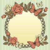 Rama z kwiatami i motylami Fotografia Royalty Free