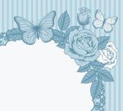 Rama z kwiatami i motylami Zdjęcie Royalty Free