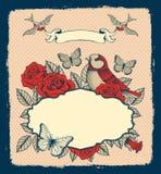 Rama z kwiatami, ptakami i sercem, Zdjęcie Royalty Free