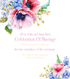 Rama z kwiatami 1 zaproszenie karty Zdjęcie Royalty Free