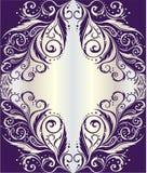Rama z kwiecistym ornamentem na srebnym tle Obraz Royalty Free