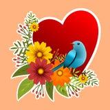Rama z kwiecistym projektem z kwiatami i ptakiem Obrazy Stock