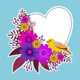 Rama z kwiecistym projektem z kwiatami i ptakiem Obrazy Royalty Free
