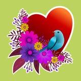 Rama z kwiecistym projektem z kwiatami i ptakiem Zdjęcie Stock