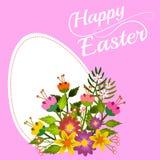 Rama z projektem na wielkanocy z kwiatami i klasycznym białym jajkiem royalty ilustracja