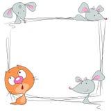 Rama z przestrzenią dla teksta Kot i mysz Obrazy Royalty Free