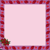 Rama z valentine różami Obrazy Stock