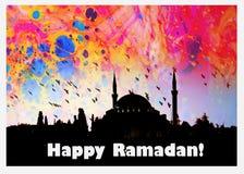 A ramadã feliz da palavra escrita ao lado de uma mesquita Fotografia de Stock