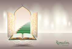 Ramadam kareem text greeting card. Open book of Koran and gateway to paradise. Vector illustration Stock Image