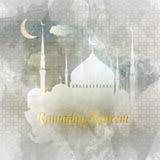 ramadan的kareem 可耕的 贺卡伊斯兰教的传染媒介设计 皇族释放例证