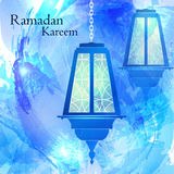 ramadan的kareem 抽象背景蓝色色的纸纹理水彩 免版税库存照片