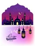 ramadan的kareem 美丽的贺卡 与清真寺的场面或Masjid和灯笼 库存图片