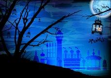 ramadan Ένα φανάρι σε ένα δέντρο Φως στο νυχτερινό ουρανό Στοκ φωτογραφία με δικαίωμα ελεύθερης χρήσης