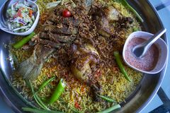 Ramadan Ισλάμ τροφίμων γευμάτων ρυζιού Biryani, έννοια: Εύγευστα μαγειρευμένα τρόφιμα hyderabadi για τους ασιατικούς ανατολικούς  στοκ φωτογραφίες