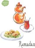 Ramadan And Watercolor Turkish Tea With Baklava Stock Photos