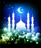 Ramadan background. Ramadan Islamic background - mosque silhouette and crescent moon at night - blue and green colors - vector