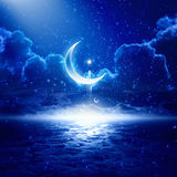 Ramadan background. Eid Mubarak background with shining moon and stars, holy month, Ramadan Kareem, glowing horizon
