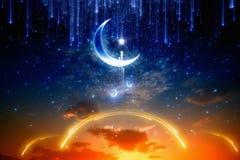 Ramadan background. Eid Mubarak background with shiny moon and stars, holy month, Ramadan Kareem, glowing red sunset