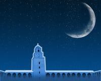 Ramadan background mosque and half moon. Night Ramadan background mosque and half moon
