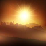 Ramadan background with mosques at sunset Royalty Free Stock Photos