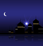 Ramadan Background with Silhouette Mosque Stock Photography