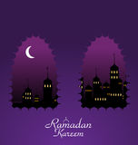 Ramadan Background with Silhouette Mosque Stock Images