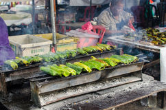 Ramadan Bazaar Kuala Lumpur. Kuala Lumpur,Malaysia - July 23, 2014: Otak-Otak is the traditional Malaysian local food. The fish meat and spices are wrapped royalty free stock photography