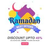 Ramadan Best Offers Banner Design su backgroun variopinto astratto Immagini Stock
