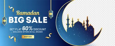 Ramadan Big Sale header or banner design with 60% discount offer, silhouette of moon with mosque. Ramadan Big Sale header or banner design with 60% discount vector illustration