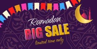 Ramadan Big Sale Insegna orizzontale di web di progettazione con bello Cr Fotografia Stock
