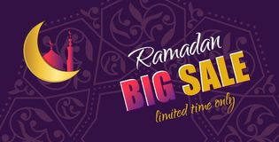 Ramadan Big Sale Insegna orizzontale di web di progettazione con bello Cr Fotografie Stock