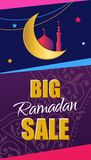 Ramadan Big Sale Insegna verticale di web di progettazione con i bei cres Immagine Stock Libera da Diritti