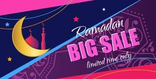 Ramadan Big Sale Insegna verticale di web di progettazione con i bei cres Immagini Stock