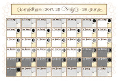 Ramadan calendar 2017, 28th May. Check date choice. Includes: fasting tick calendar, moon cycle - phases, 30 days of. Ramadan on white background with Islamic Royalty Free Stock Images