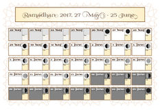 Ramadan calendar 2017, 27th May. Check date choice. Includes: fasting tick calendar, moon cycle - phases, 30 days of. Ramadan on white background with Islamic Royalty Free Stock Image