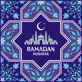 Ramadan card blue. Ramadan greeting card with the image of the mosque, minarets and Middle East pattern in Moorish style. Vector template Stock Images