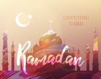 Ramadan card. Ramadan Kareem. Eid Mubarak. Month of fasting. Template for creative greeting card, arabic celebration. Islamic abstract watercolor splash Stock Photography