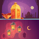 Ramadan Cartoon Banners vektor illustrationer