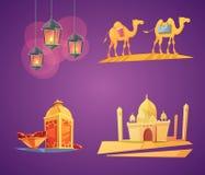 Ramadan Cartoon Icons Royalty Free Stock Photo
