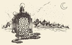 Ramadan celebration engraved illustration drawn Stock Images