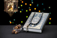 Ramadan Celebration Symbols and Objects. Over Defocused Festive Lights