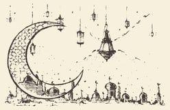 Ramadan celebration engraved illustration drawn Stock Photo