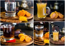 Ramadan collage - iftar juice, tea and water. Ramadan collage - iftar juice, tea and water Stock Image